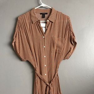 Forever 21 brown checkered dress with tie